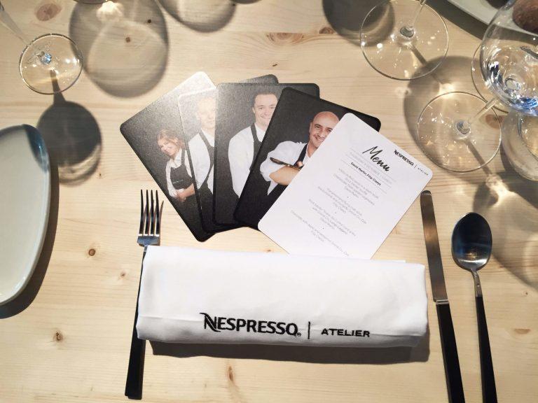 Nespresso Atelier Menu Cards
