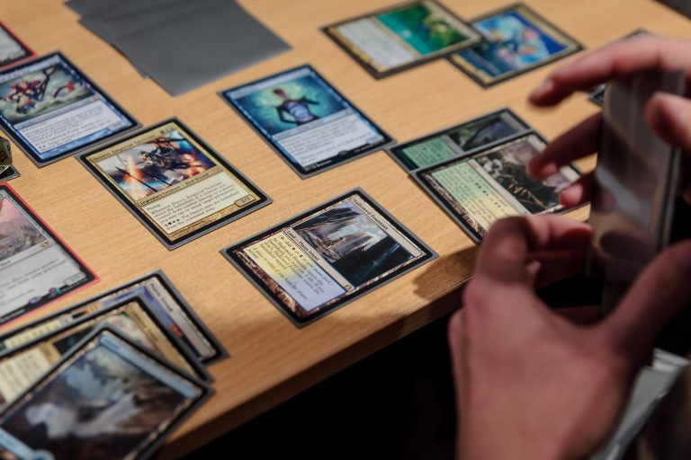 Magic the Gathering trading card games on a table