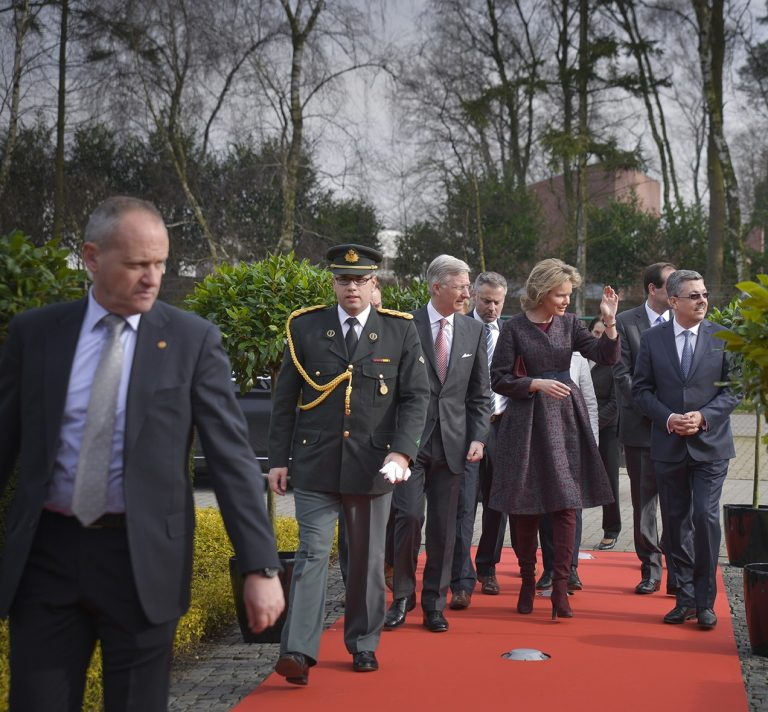 King Filip and Queen Mathilde arriving at the headquarters of Cartamundi Turnhout
