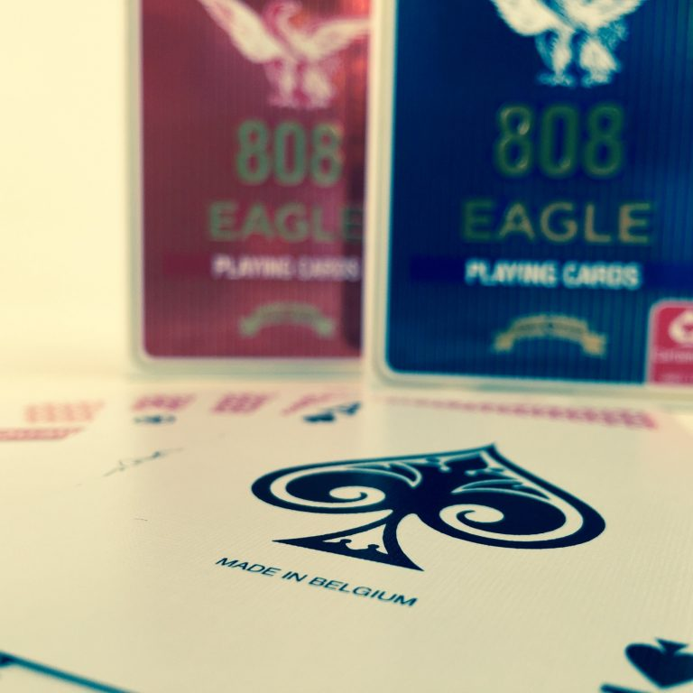 eagle 808 playing cards ace of spades made in Belgium red and blue