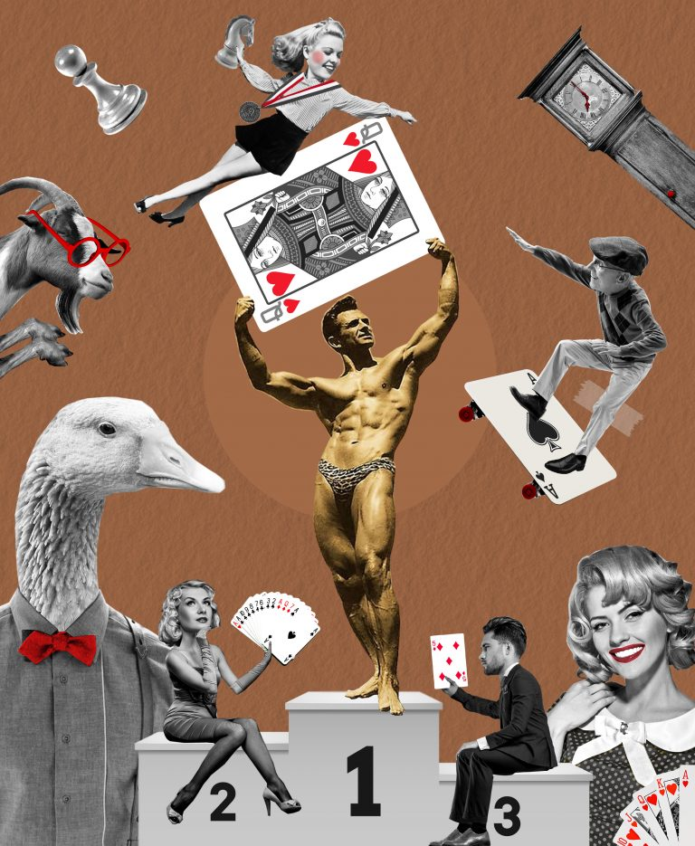 Collage of man holding a playing card on a podium with a duck on the foreground